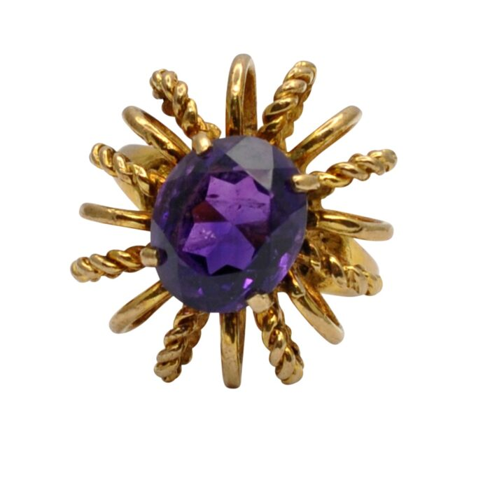 Modernist Amethyst 9ct Gold Cocktail Ring