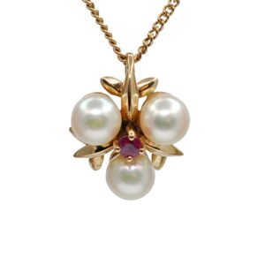 Vintage Pearl Ruby Gold Pendant