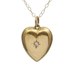Victorian 15ct Gold Diamond Heart Pendant