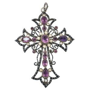 Antique Iberian Amethyst Pearl Silver Mourning Cross