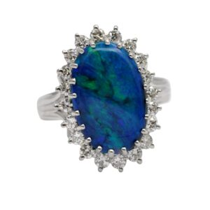 Vintage Black Opal Diamond Cluster Ring