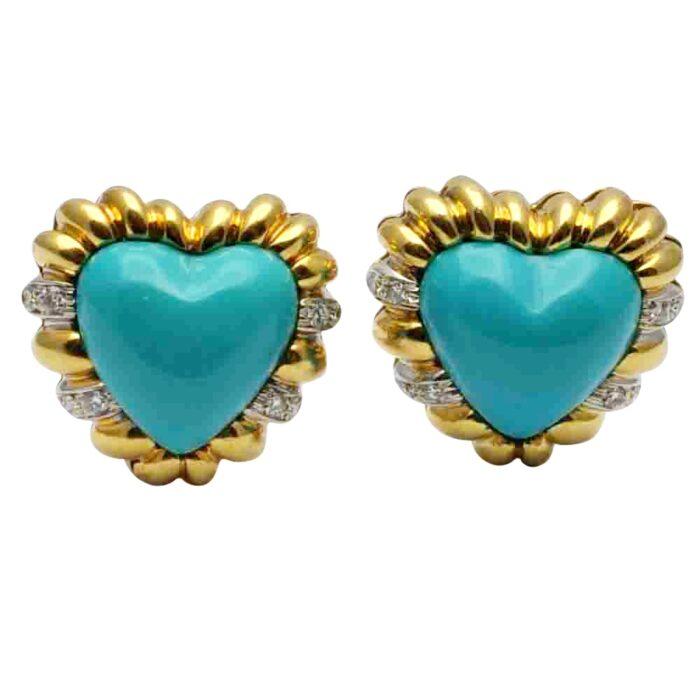 Turquoise Diamond 18ct Gold heart Earrings