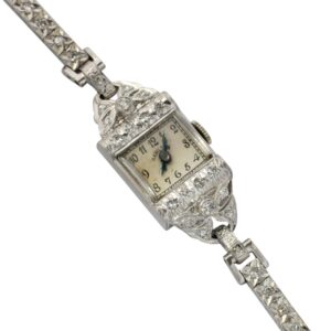 Art Deco Diamond Platinum Bracelet Cocktail Watch