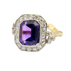 Vintage Amethyst Diamond 18ct Gold Ring