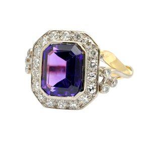 Vintage Amethyst Diamond 18ct Gold Ring