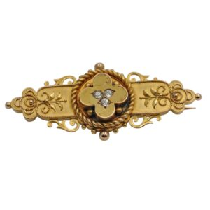 Victorian Etruscan Revival 15ct Gold Diamond Brooch