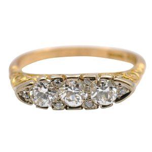Antique Edwardian Diamond Gold Engagement Ring