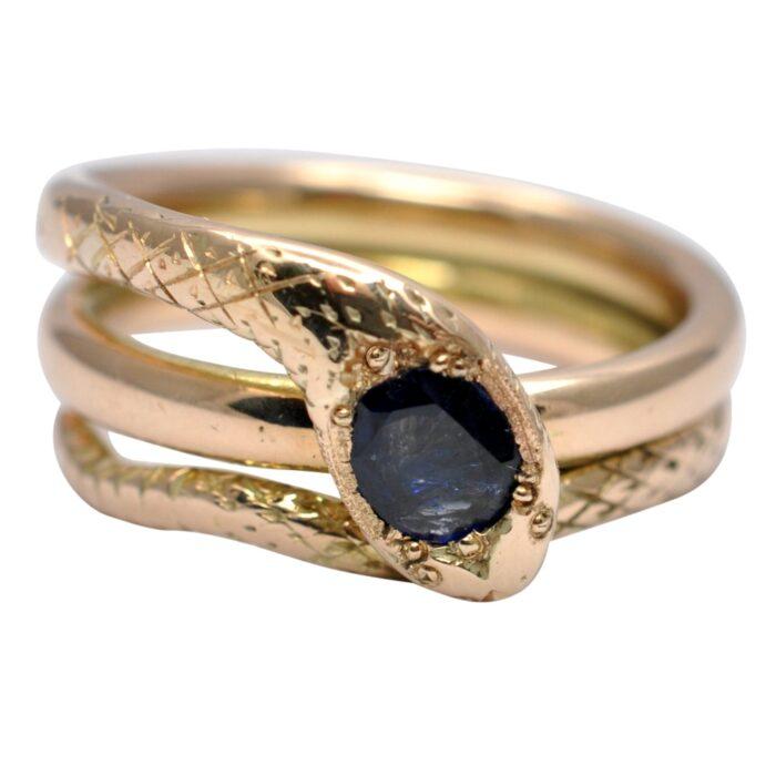 Antique Sapphire 15ct Gold Gentlemans Snake Ring