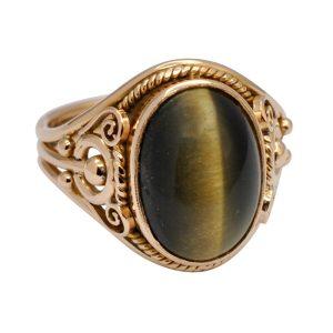 Vintage Tiger's Eye 18ct Gold Signet Ring