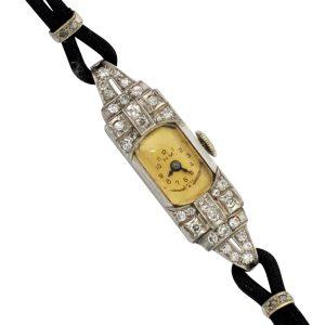 Art Deco Diamond Platinum Cocktail Watch