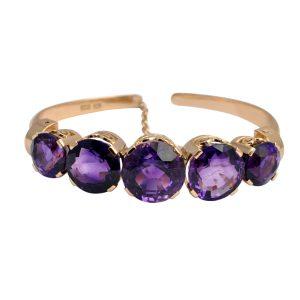 Vintage 5 Stone Amethyst 14ct Gold Bracelet
