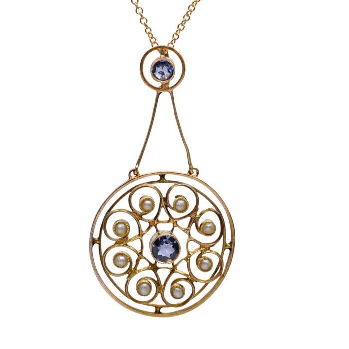 Edwardian Sapphire Pearl 15ct Gold Pendant