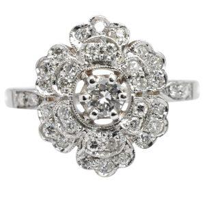Diamond 18 Carat Gold Flower Ring