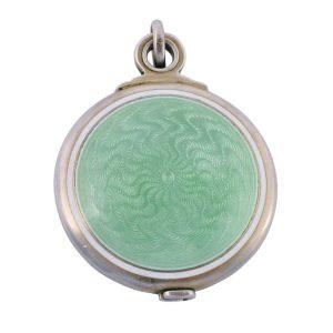 Antique Silver Green Enamel Locket