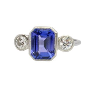 Tanzanite Diamond Platinum Trilogy Ring