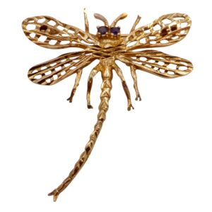 Vintage Mid Century 9ct Gold Dragonfly Brooch