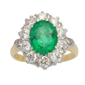 Emerald Diamond Platinum Gold Cluster Ring