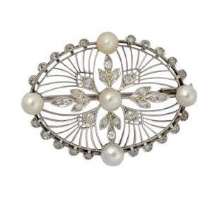 French Art Deco Diamond Pearl Gold Brooch