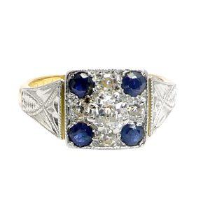 Art Deco Saphire Diamond Platinum Gold Ring