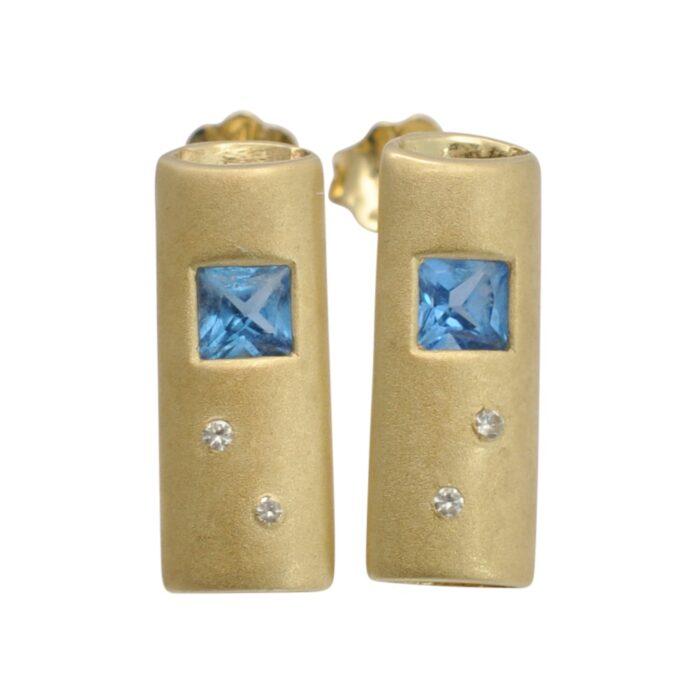 Blue Topaz 14 Carat Gold Earrings