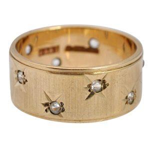 Gold and White Quartz Starburst Ring