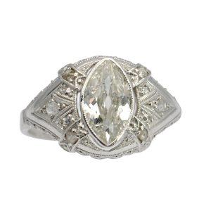 Art Deco Marquise Diamond Gold Ring