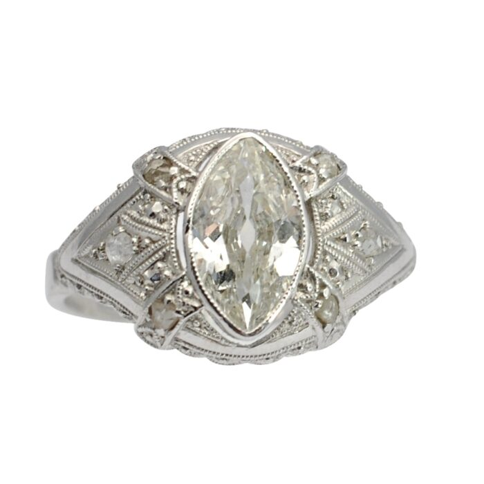 Art Deco Marquise Diamond Gold Ring
