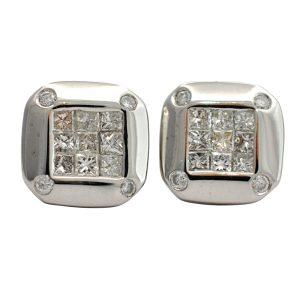Princess Cut Diamond Stud Gold Earrings