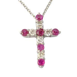 Ruby Diamond 18ct Gold Cross Platinum Chain