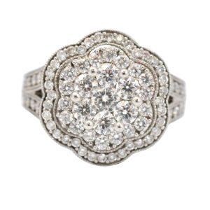 Diamond Cluster Flower 18ct White Gold Ring