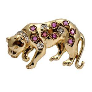Diamond Ruby Gold Leopard Brooch