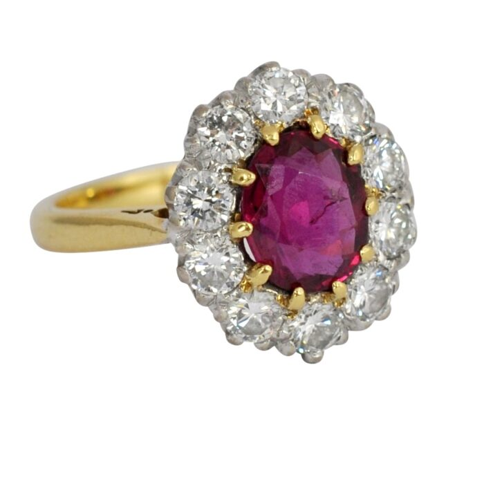 Vintage Ruby Diamond 18ct Gold Engagement Ring