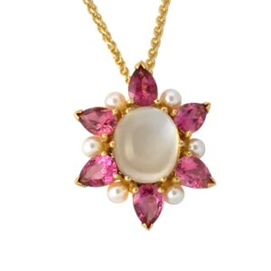 Pink Tourmaline Moonstone Pearl 18ct Gold pendant