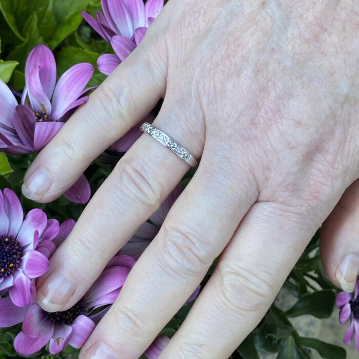 Art Deco Diamond Half Eternity Gold Ring