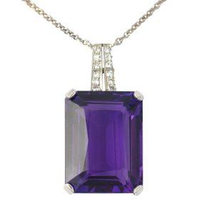 Amethyst Diamond 18ct White Gold Pendant