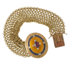 Victorian Enamel Sapphire Diamond Garnet Bracelet