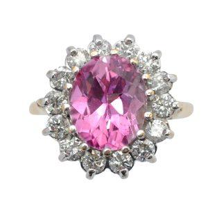 Pink Topaz Diamond Gold Cluster Ring