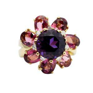 Amethyst Pink Tourmaline Diamond Gold Flower Ring