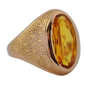 Retro Yellow Sapphire Gold Gentlemans Signet Ring