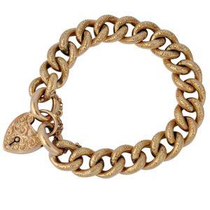 Antique Edwardian 9ct Gold Curb Link Bracelet