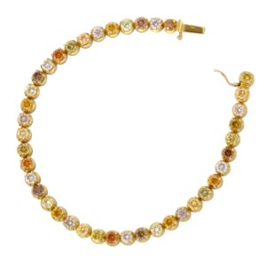 Multicoloured Diamond Gold Line Bracelet