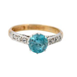 Vintage Blue Zircon Diamond Gold Ring