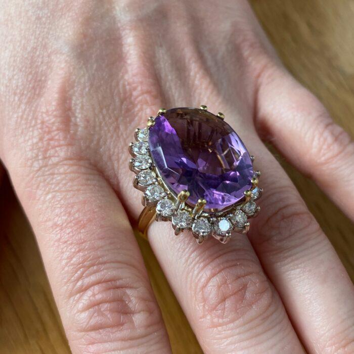 Large Vintage Amethyst Diamond Cocktail Gold Ring