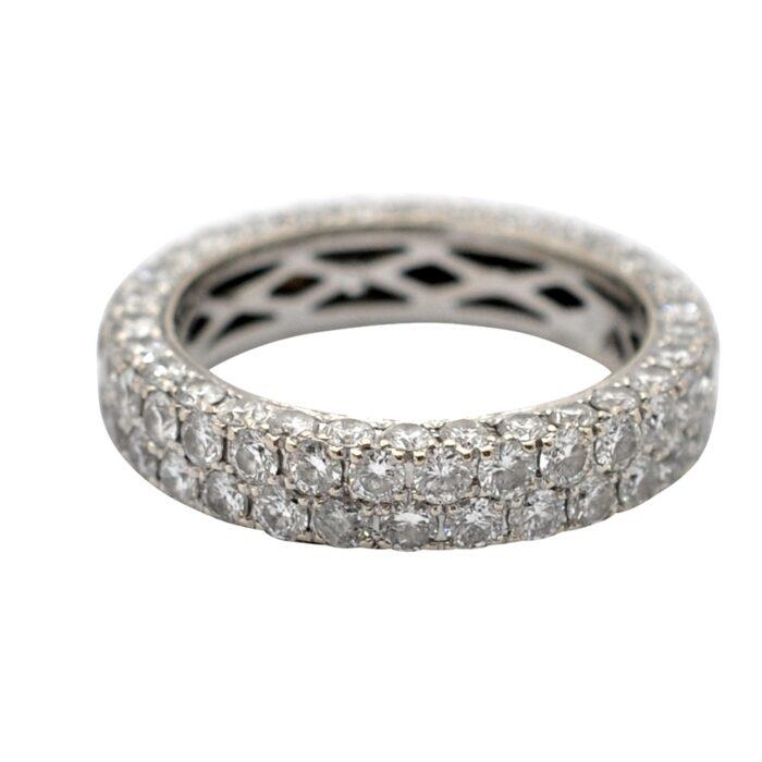 4 Row Diamond Eternity Band Gold Ring