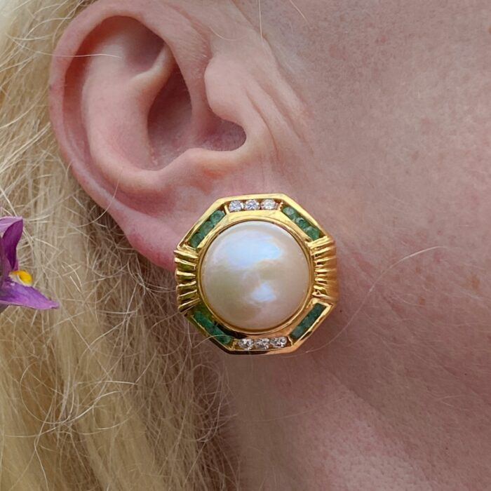 Large Vintage Pearl Emerald Diamond Gold Earrings