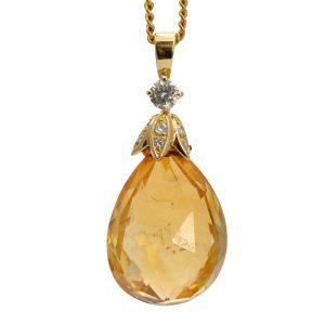 Briolette Citrine Diamond Gold Pendant