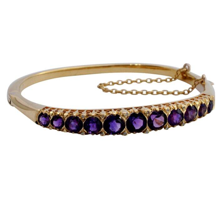 Amethyst Diamond Gold Half Hoop Bracelet