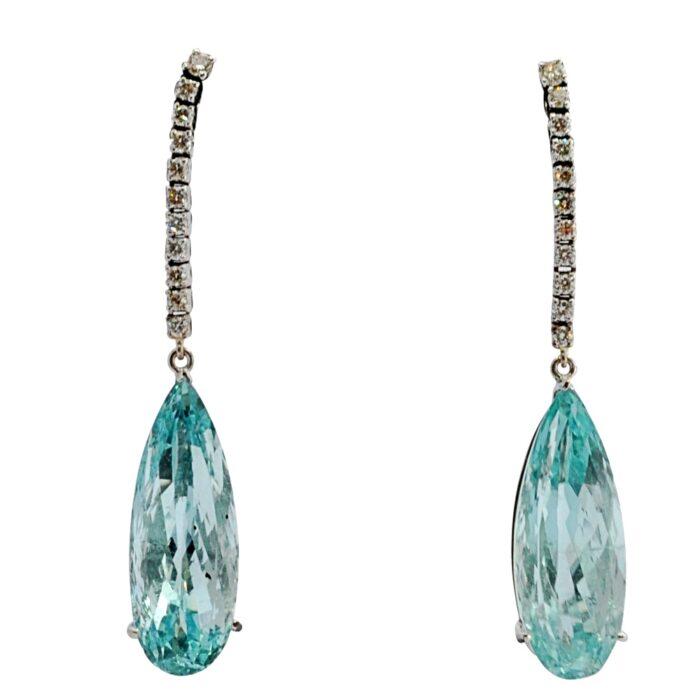 Antique Aquamarine Diamond Pendant Earrings