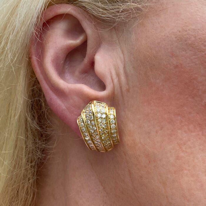 Retro Diamond 18ct Gold Earrings