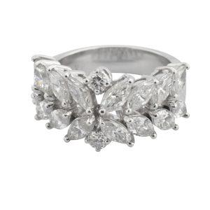 Two Row Marquise Diamond Eternity Ring
